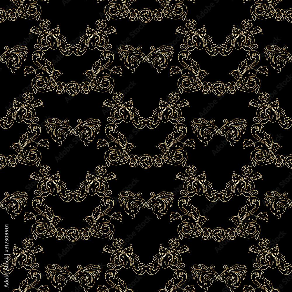 Seamless pattern with vintage golden baroque floral decorative elements. Vector.