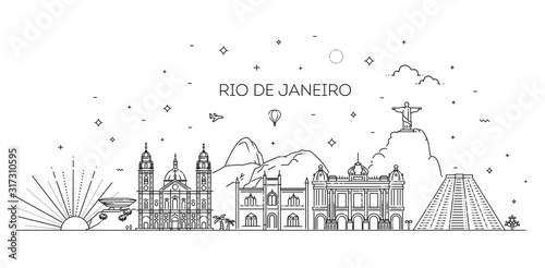 Fotomural Rio de Janeiro detailed Skyline. Travel and tourism background