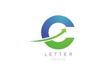 Green Blue Swoosh Arrow Letter Alphabet C For Company Logo Icon Design