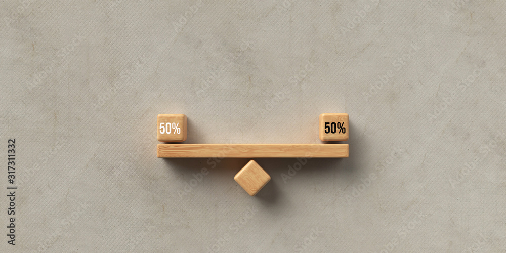 Fototapeta wooden blocks formed as a seesaw with the number 50% on paper background, symbolizing fairness