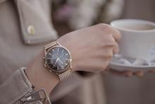 Elagant Watch On Woman Hand. H...