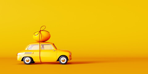 Yellow car with egg on the roof, Easter concept background 3D Rendering