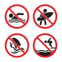 No Swimming And No Surfing Sig...