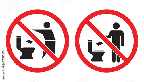 Fotomural No toilet littering sign, do not throw paper towels in toilet icons