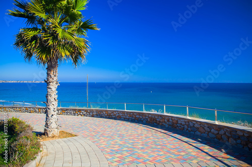 Empty seafront promenade of Pilar de la Horadada spanish town in the Province of Wallpaper Mural