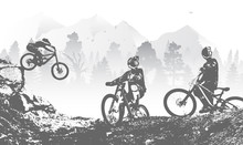 Downhill Mountai Biking Freeride And Enduro Illustration. Bicycle Background With Silhouette Of Downhill Riders In Mountain.