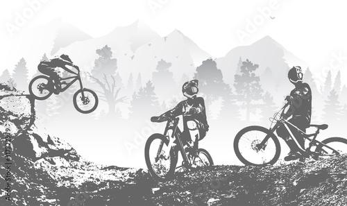 Photo Downhill mountai biking freeride and enduro illustration