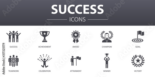 Photo success simple concept icons set