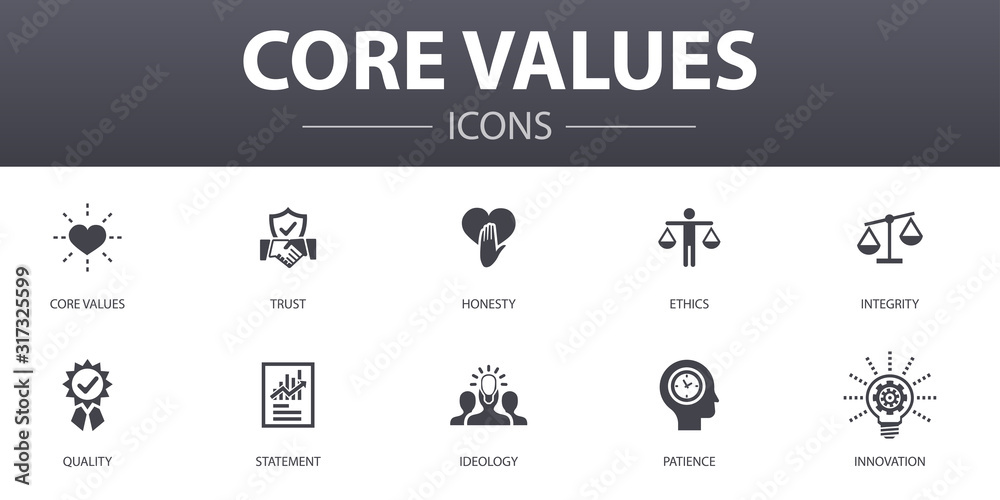 Fototapeta Core values simple concept icons set. Contains such icons as trust, honesty, ethics, integrity and more, can be used for web, logo, UI/UX