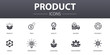 Leinwandbild Motiv product simple concept icons set. Contains such icons as price, quality, delivery, development and more, can be used for web, logo, UI/UX
