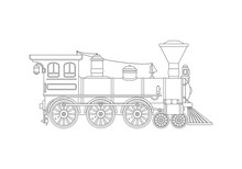 Contour Vintage Steam Locomotive In Retro Style