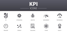 KPI Simple Concept Icons Set. Contains Such Icons As Optimization, Objective, Measurement, Indicator And More, Can Be Used For Web, Logo, UI/UX