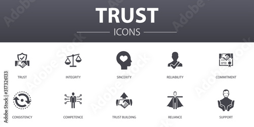 Fotografia trust simple concept icons set