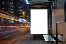 Blank Billboard In Night Traffic