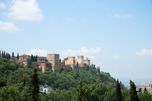 View To Alhambra Form Sacromonte Village Famous For Its Houses Made In Caves At The Hill Slopes, Granada, Spain
