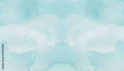 Photo Light turquoise color watercolor illustration, creative background, smeared sky blue shades frame