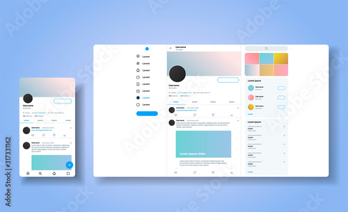 Obraz Social media network inspired by twitter. Ui Ux web responsive template of tweeter account. Mobile social media app and desctop. User profile, followers, and tweet mock up.  Vector illustration - fototapety do salonu