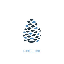 Pinecone Concept 2 Colored Icon. Simple Blue Element Illustration. Pinecone Concept Symbol Design From Autumn Set. Can Be Used For Web And Mobile UI/UX