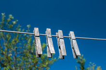 Weathered Wooden Laundry Clamp...