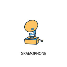 Gramophone Concept 2 Colored Line Icon. Simple Yellow And Blue Element Illustration. Gramophone Concept Outline Symbol Design From Music Set