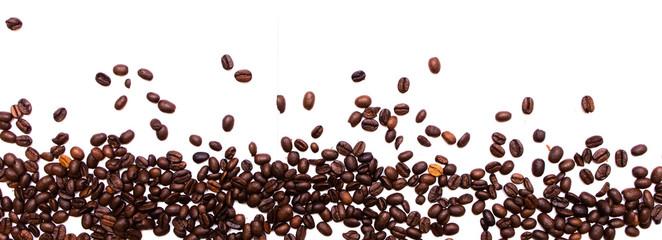 Rozsypane ziarna palonej kawy, tło z kawy