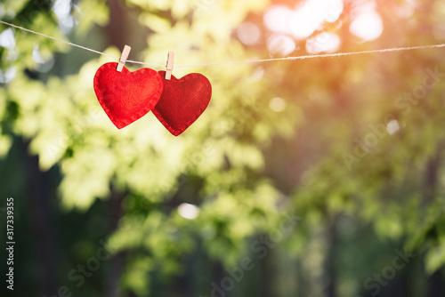 Obraz Valentine's day background with red hearts - fototapety do salonu