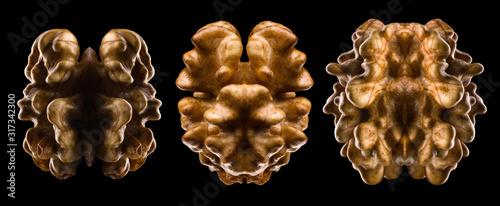 Fotografía Set of kernel walnut isolated on a black background