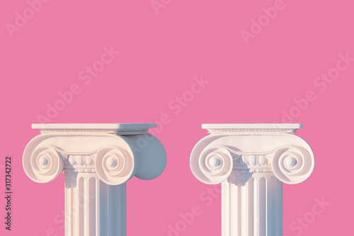 Foto White ancient column pedestal isolated pink museum piece background, Greek pilla