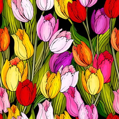 Panel Szklany Kwiaty Bright seamless floral pattern with red, yellow,purple tulips and green leaves on a black background. Hand drawn.For textile, fashion, wallpapers, wrapping paper. Vector stock illustration.