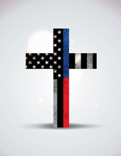 Police And Firefighter Support Cross Illustration