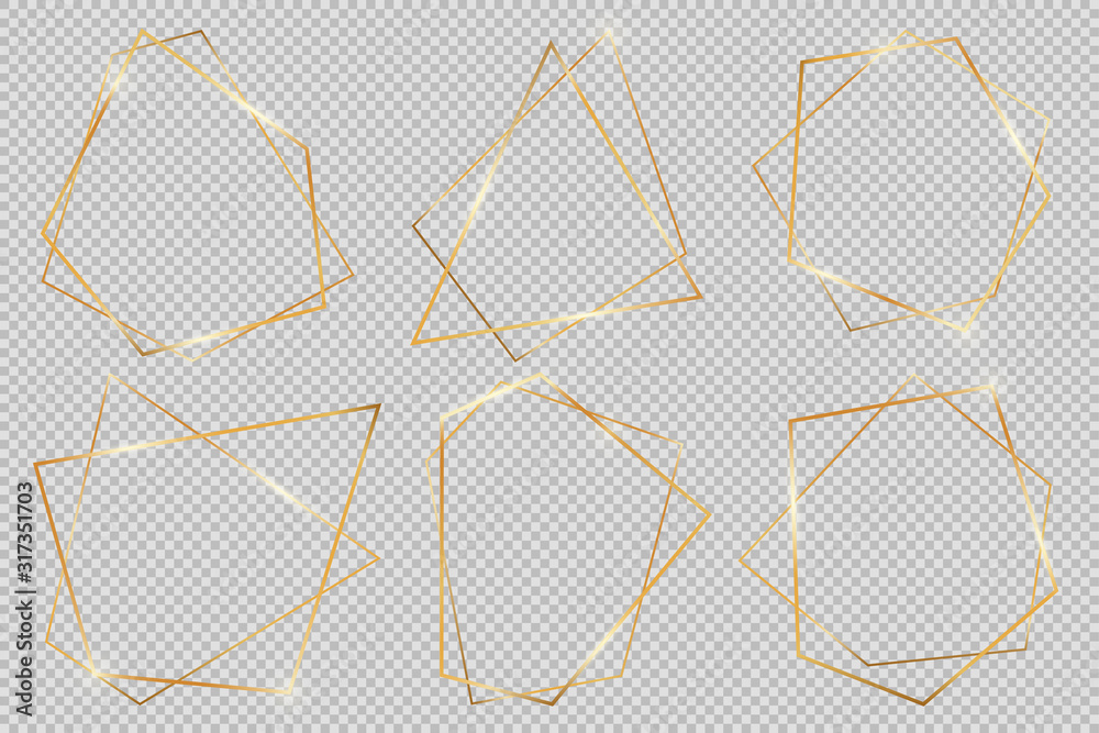 Fototapeta Set of modern shiny vector polygonal shapes. Collection of gold geometric frames can be used in various design projects, advertisements, wedding invitations, cards or templates, web-design and more.