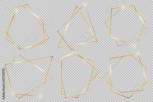 Set of modern shiny vector polygonal shapes. Collection of gold geometric frames can be used in various design projects, advertisements, wedding invitations, cards or templates, web-design and more.