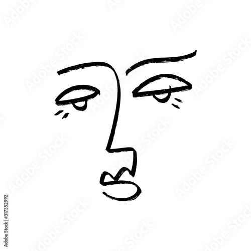 Obrazy Picasso  simple-hand-drawn-trendy-line-art-fashionable-human-portrait-modern-abstraction-monochrome