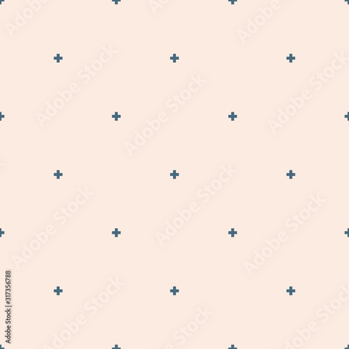 Obraz Vector minimalist geometric seamless pattern with small crosses. Blue and beige - fototapety do salonu