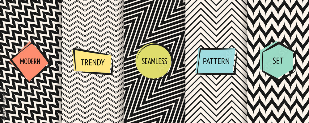 Fototapeta Zigzag chevron pattern collection. Vector geometric seamless textures with zig zag lines, stripes. Set of black and white minimal abstract background swatches with trendy modern colorful labels