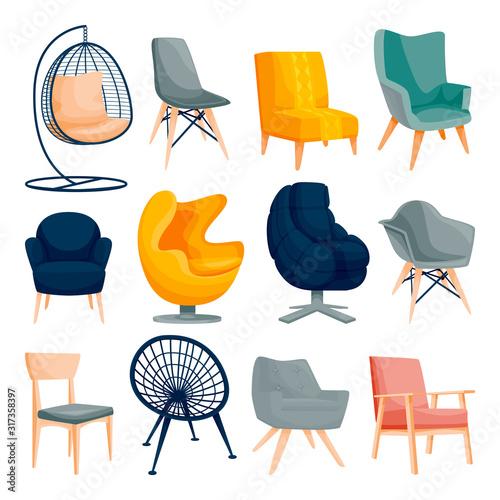 Modern armchair set Canvas Print