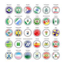 Set Of Vector Icons. Flags Of Mato Grosso, Goias, Mato Grosso Do Sul, Espirito Santo, Parana, Rio Grande Do Sul, Santa Catarina States, Brazil.