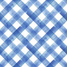 Watercolor Diagonal Stripe Plaid Seamless Pattern. Indigo Blue Stripes On White Background