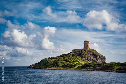 Obraz na plátne Ancient Spanish tower of Coltellazzo, Nora, Pula, Sardinia, Italy