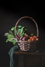 Still Life Of Wicker Basket Wi...