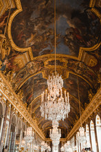 Painting Ceiling With Fresco And Chandelier In Palace Of Paris