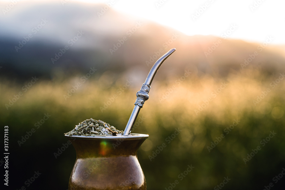 Fototapeta Chimarrão, or mate, is a characteristic drink of the culture of southern South America bequeathed by indigenous cultures. It consists of a gourd, a pump, ground yerba mate and warm water.