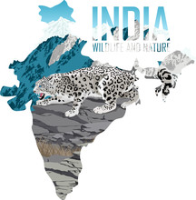 Vector India Map With Snow Leo...