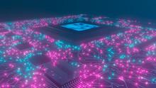 3D Rendering. AI. Circuit Boar...