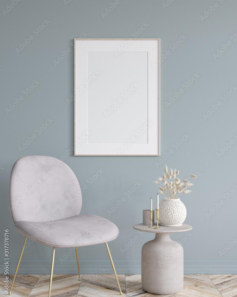Fototapeta Poster mock up in home interior background, modern style, 3d render