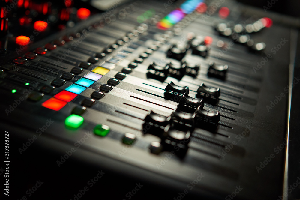 Fototapeta Recording studio equipment. Professional audio mixing console.