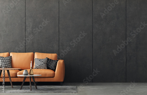 Fototapeta Living room interior in loft, industrial style, 3d render obraz