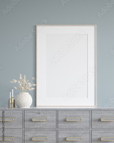 Poster mock up in home interior background, modern style, 3d render