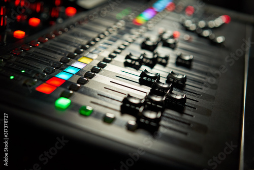 Fototapeta Recording studio equipment. Professional audio mixing console. obraz