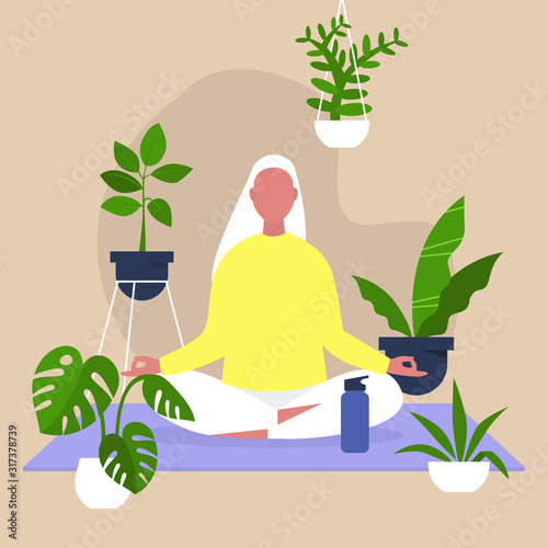 Fotografia Meditation and mindfulness, Harmony and relaxation, Calm female character sittin
